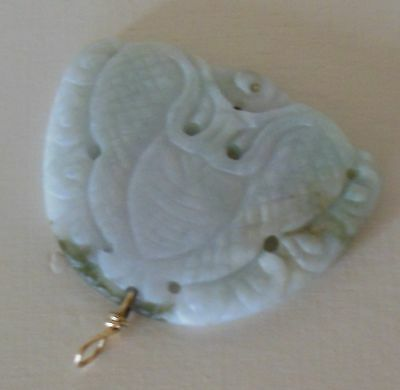 Antique Large Chinese Carved Pierced Green Jade Butterfly Vintage Pendant