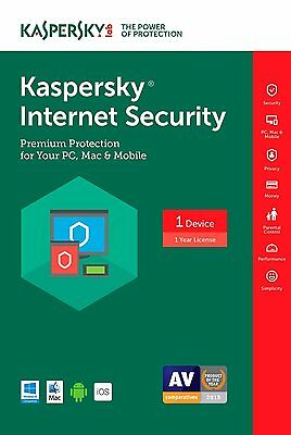 Kaspersky Internet Security 2017(2016) 1-Device 1-Year (PC Mac Android iOS) NEW