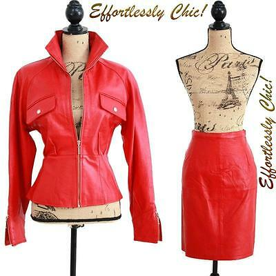 Vtg 80s RED Leather Jacket Zipper Peplum Leather Jacket + Leather skirt set  M/L