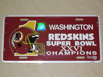 Washington Redskins Super Bowl XXVI Champions Novelty NFL Metal Number Plate