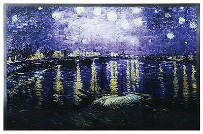 """Van Gogh """"STARRY NIGHT OVER THE RHONE"""" RIVER Stained Art Glass Panel Display"""