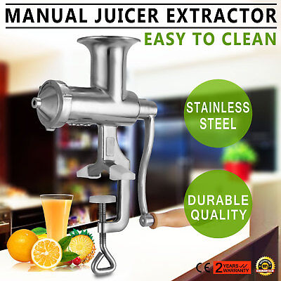 ECO Stainless Steel Wheatgrass Manual Juicer Extractor Squeezer Nutrition Silver