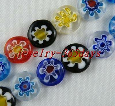 50pcs Glass Mixed Flat Spacer Beads Findings 8mm P538