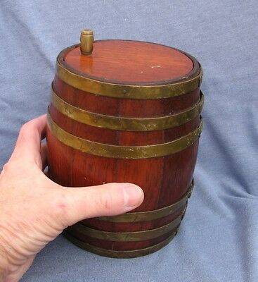 19th to early 20th century brass mounted oak barrel container.