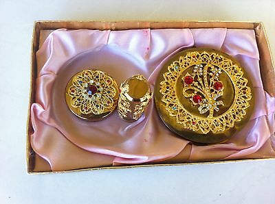 vintage stratton compact lipstick and powder set