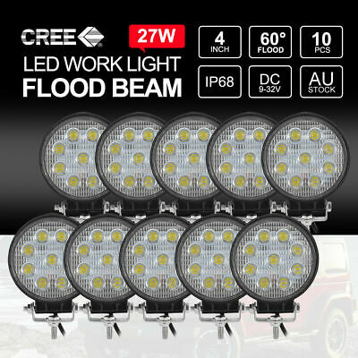 10x 27W LED Work Light CREE Round Off Road 4x4 Truck Boat 12V 24V FLOOD Lamps