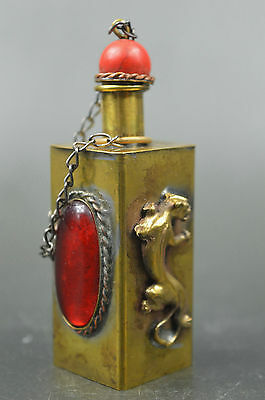 Handwork Collectible Copper Inlay Beads Carve Cute Lizard Noble Snuff Bottle