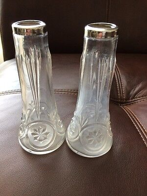 Vintage Pair Of Sterling Silver Top Vases