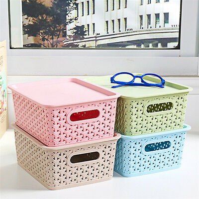 Home Storage Box Household Organizer Plastic Cube Bins Basket Container 2 Size