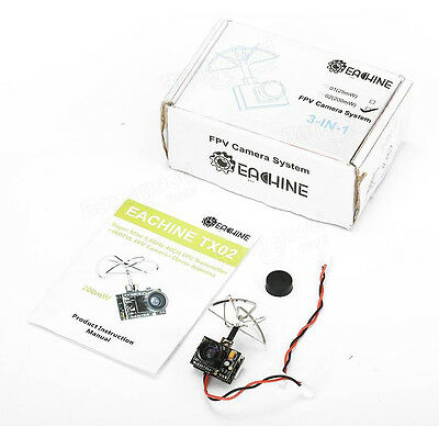 Eachine TX02 NTSC Super Mini AIO 5.8G 40CH 200mW VTX 600TVL FPV Camera - FRANCE