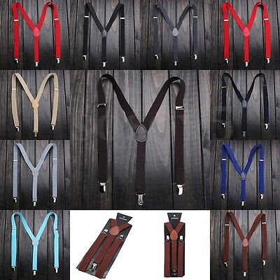 Fashion Unisex Clip-on Suspenders Elastic Y-Shape Mens Womens Adjustable Braces