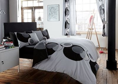 Modern Pleated Cotton Duvet Quilt Cover With Pillowcase Bedding Set - Black