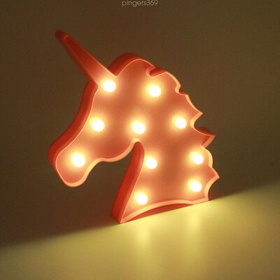 Unicorn Head Night Light LED Home Bedside Lamp Children's Room Pink Color