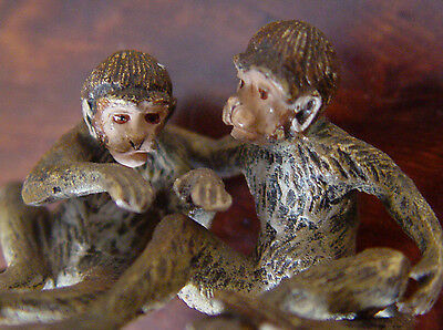 Vienna Bronze Cold Painted Signed Geschutzt PR of Monkeys  RARE Austrian Antique