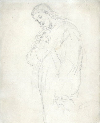 Joseph Clark - Late 19th Century Graphite Drawing, Father and Child