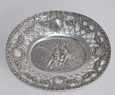 Vintage 800 Sterling Silver Repousse & Pierced Dish - Lovers and Rose Trellis