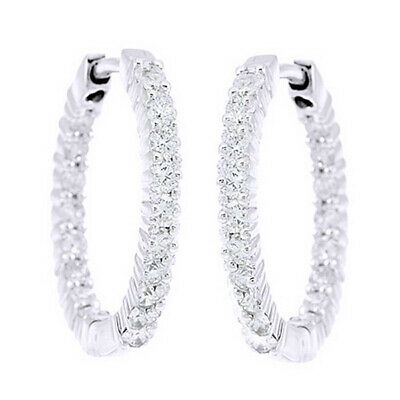 1 Ct Round Cut Natural Diamond Inside Out Hoop Earrings In 14K White Gold