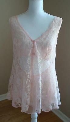 Peach Delicates Vintage 2 pc Lace Teddy Sheer Baby Doll Lingerie  ~ Pretty ~