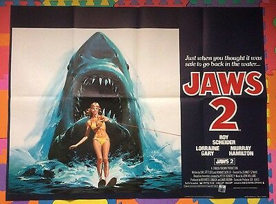 Jaws 2 - Original Uk Quad Cinema Poster - Outstanding!