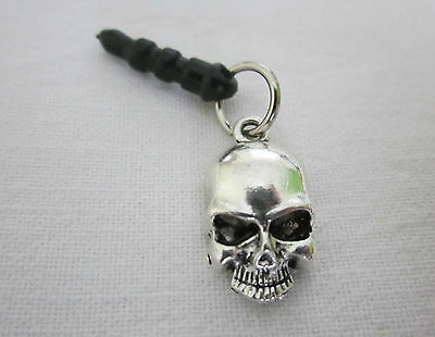 Antique Silver Tone Skull Mobile Phone Dust Plug Charm - Pirate Halloween Goth