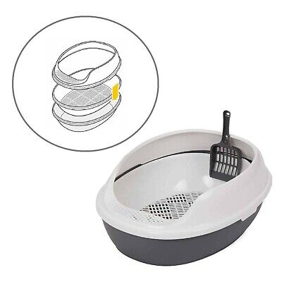 High Side Cat Litter Tray + Scoop Pet Toilet Training Box Potty Bed Cave Basket