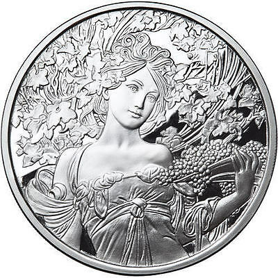 Alphonse Mucha 1 0z .999 silver coin Champagne White Star Art series collection