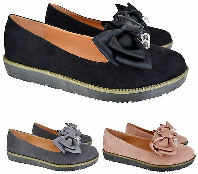 Ladies Womens Chunky Sole Creeper Diamante Bow Dolly Loafers Shoes Size 3-8 New
