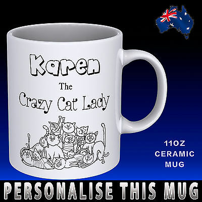 Personalised Crazy Cat Lady Funny Novelty Coffee Mug Add Name Great Gift Idea