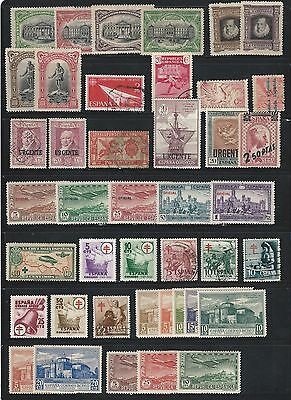 Spain: Small lot of 40 different stamps good pieces unused used, hinged. SP214