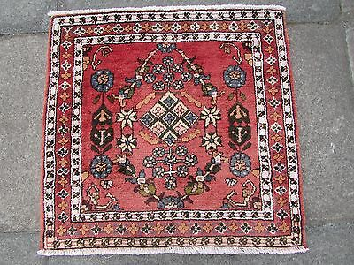 Old Traditional Persian Rug Oriental Hand Made Wool Red Small Rug 105x60cm