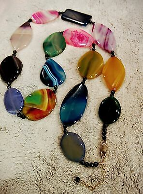 Brand New Beautiful  Agate Necklace   Unsold Store Stock