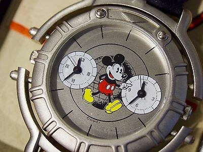 Mickey Mouse Dual Time Watch New W/box Large Face Never Worn