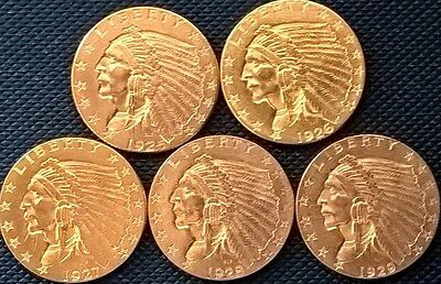 5 very NICE GOLD $2 1/2   INDIAN  QUARTER EAGLES 1925d 1926 1927 1928 1929