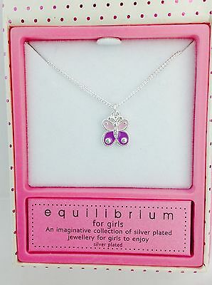 Equilibrium For Girls Children's Silver Plated Purple Butterfly Necklace
