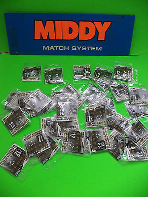30 New Packs Of Middy Mixed Sizes Off  Barbless Fishing Hooks Spade End