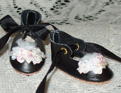 """Rosette"" 27 cm JN Body ~ Leather Doll Shoes ~FANCY Style~Black w/ Pastel"
