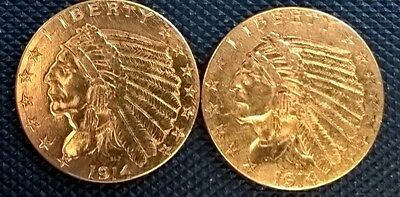 2 very NICE GOLD $2 1/2   INDIAN QUARTER EAGLES 1914 & 1914d better dates
