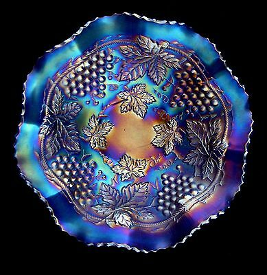 Electric Carnival Glass Northwood Grape and Cable Large Ruffled Cobalt Blue Bowl