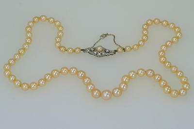 Vintage Single Strand Pearl Necklace Rose & Old Cut Diamond 18ct Clasp 1920's