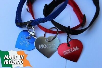 Collar with ID tag heart Cats cat ID, personalized , tags, badge, pet disc, pets