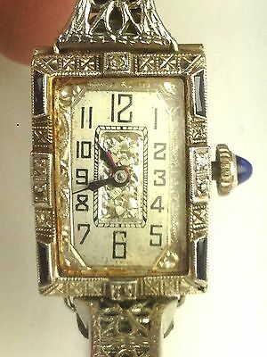 ART DECO LADIES 18K Gold & Platinum Diamond Watch & 10K  SAPPHIRE BRACELET