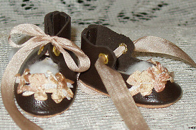 """Rosette"" 27 cm JN Body ~ Leather Doll Shoes ~FANCY Style~Dk Brown w/ Beige"