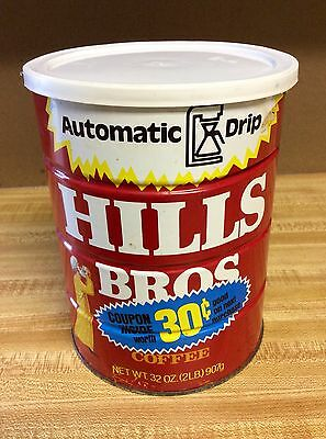 Vintage Hills Bros 32 Oz Coffee Tin Can Advertising Collectable Nice