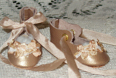 """Rosette"" 27 cm JN Body ~ Leather Doll Shoes ~FANCY Style~Beige Pearl w/ Beige"