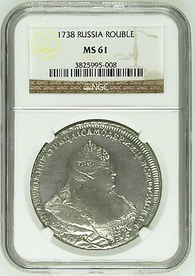 Russia 1738 Anna Moscow Type Dmitriyev Portrait Silver Rouble Ngc Ms61 Rare!