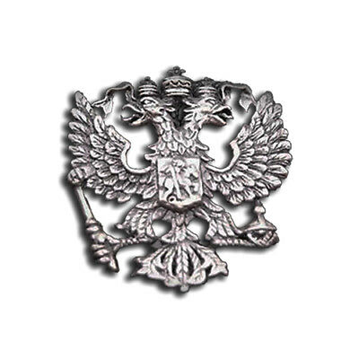 RUSSIAN DOUBLE-HEADED EAGLE CREST RUSSIA STATE COAT ARMS SILVERY LAPEL PIN 3cm