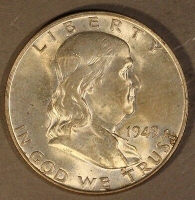 1949 D Franklin Half Dollar High Grade Lightly Toned   ** FREE U.S. SHIPPING **