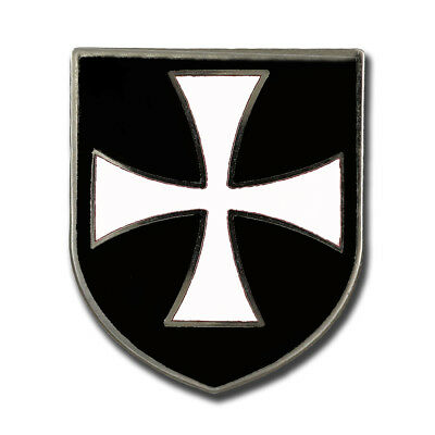 Christian Army Crusader Knights Order Hospitallers White Cross Black Shield Pin