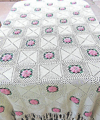Vintage Crochet Bedspread Lace Pink Rosette Bed Cover 96x123