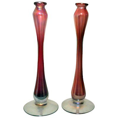 Cranberry Hand Blown Candle Holders 18""